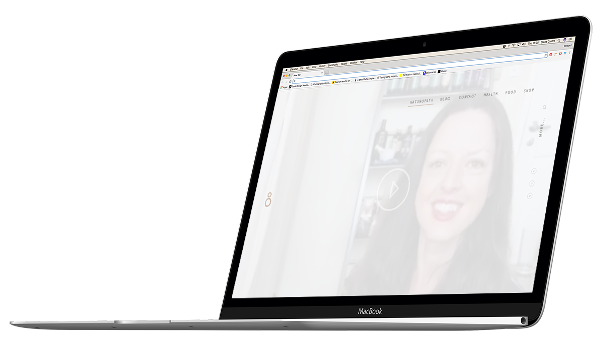 Apple macbook with female on the screen background